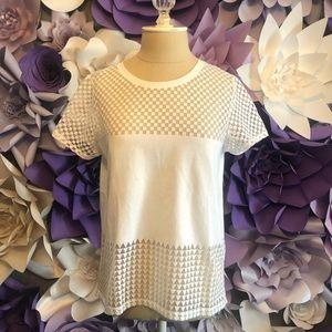 White checkered mesh t-shirt